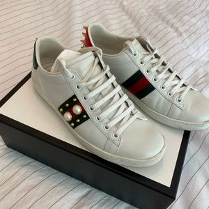 Gucci new ace low top sneaker pearls and spikes 38